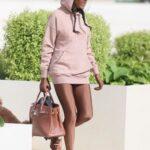 Sinitta in a Pink Hoodie Arrives at the ITV Studios in London