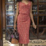 Sinitta in a Red Floral Dress Leaves Here Come The Boys Press Night in London