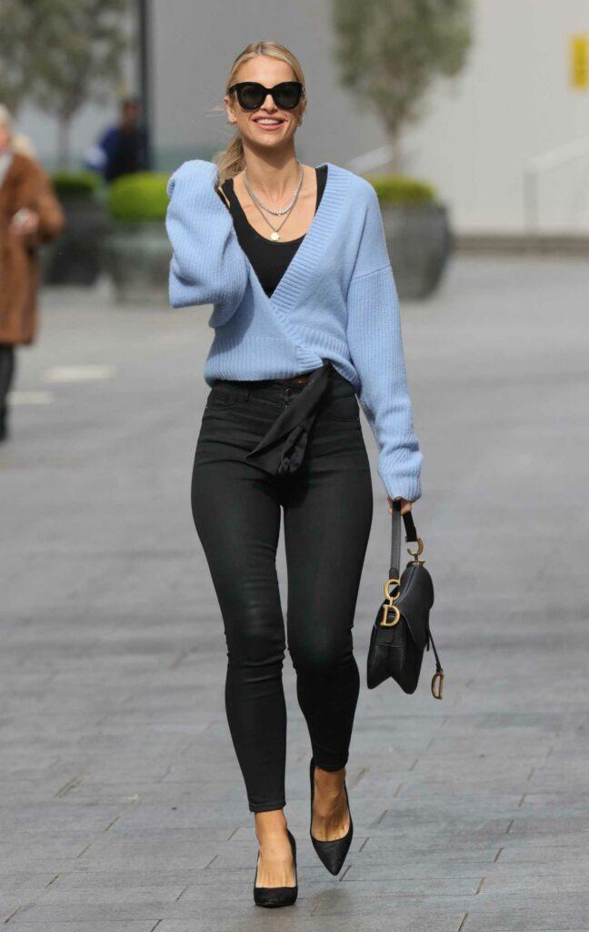 Vogue Williams in a Blue Cardigan