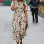 Vogue Williams in a Floral Dress Leaves the Heart Radio in London