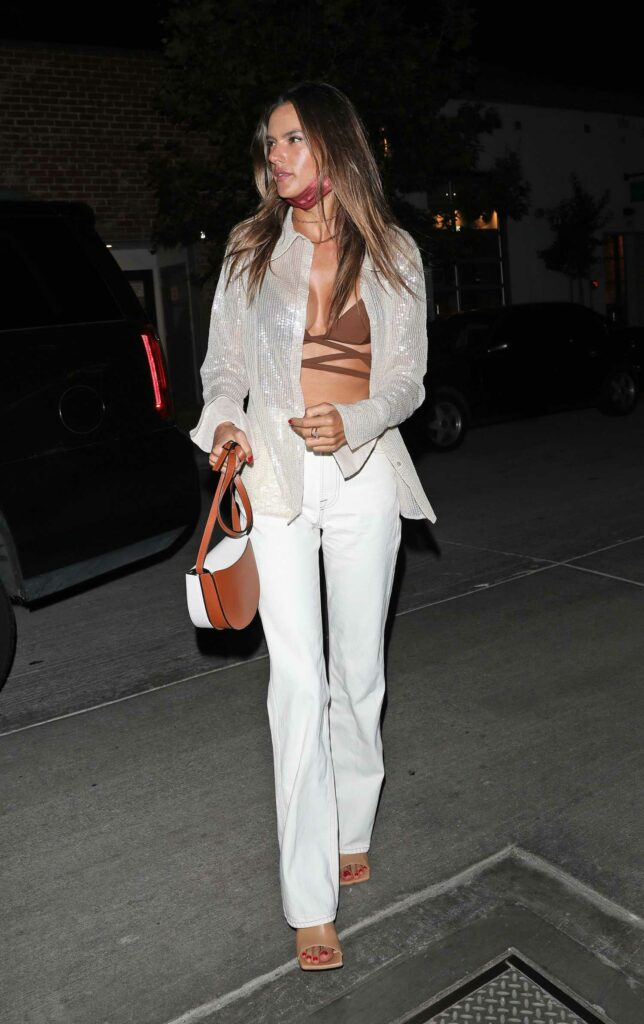 Alessandra Ambrosio in a White Pants