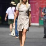 Ashley Roberts in a Beige Dress Arrives at the Heart Radio in London