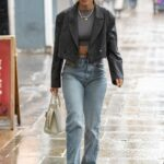Ashley Roberts in a Grey Jacket Leaves the Global Studios in London