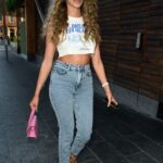 Beth Dunlavey in a White Crop Top Arrives at 20 Stories in Manchester