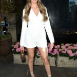 Beth Dunlavey in a White Outfit Arrives at The Ivy in Manchester