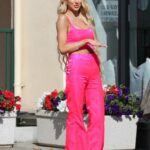 Christine Quinn in a Pink Outfit Films a Scene for Her TV Show Selling Sunset at Sunset Plaza in West Hollywood