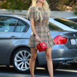 Christine Quinn in a Plaid Mini Dress Filming Scenes for Selling Sunset in Los Angeles