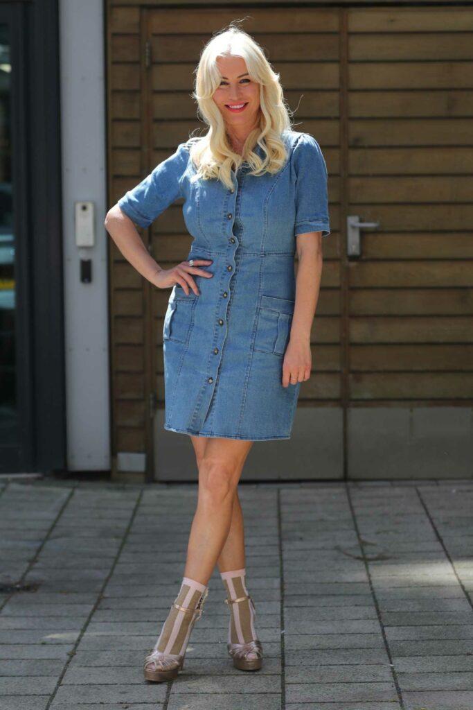 Denise Van Outen in a Blue Denim Dress