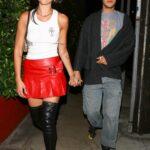 Dua Lipa in a Red Mikni Skirt Leaves a Dinner Date with Anwar Hadid at Giorgio Baldi in Santa Monica