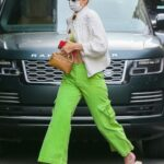 Gigi Hadid in a Neon Green Pants Was Seen Out in New York