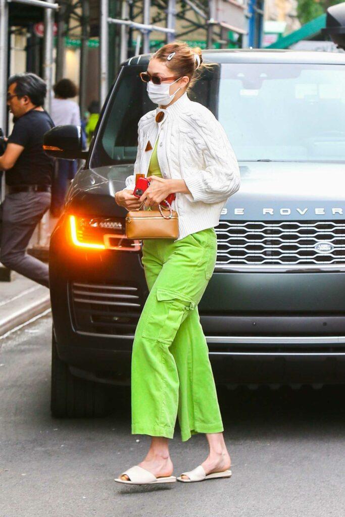 Gigi Hadid in a Neon Green Pants
