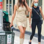 Irina Shayk in a Beige Mini Dress Was Seen Out in New York