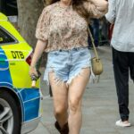 Kelly Brook in a Blue Denim Shorts Arrives at the Global Radio Studios in London