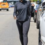 Lori Harvey in a Black Protective Mask Leaves a Workout Session in Los Angeles
