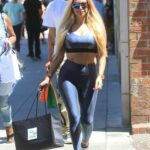 Marcela Iglesias in a Grey Sports Bra Goes Shopping at Saks Fifth Avenue on Rodeo Drive in Beverly Hills