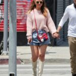 Maria Menounos in a Pink Sweater Was Seen Out with Keven Undergaro on Melrose Ave in Los Angeles