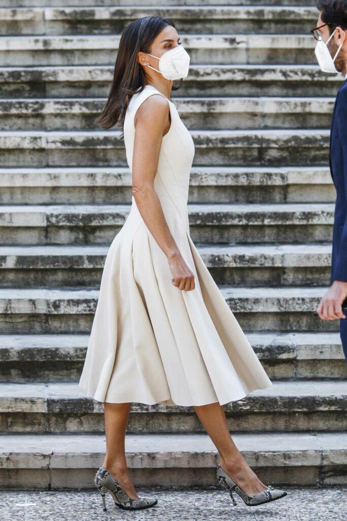Queen Letizia of Spain in a Beige Dress