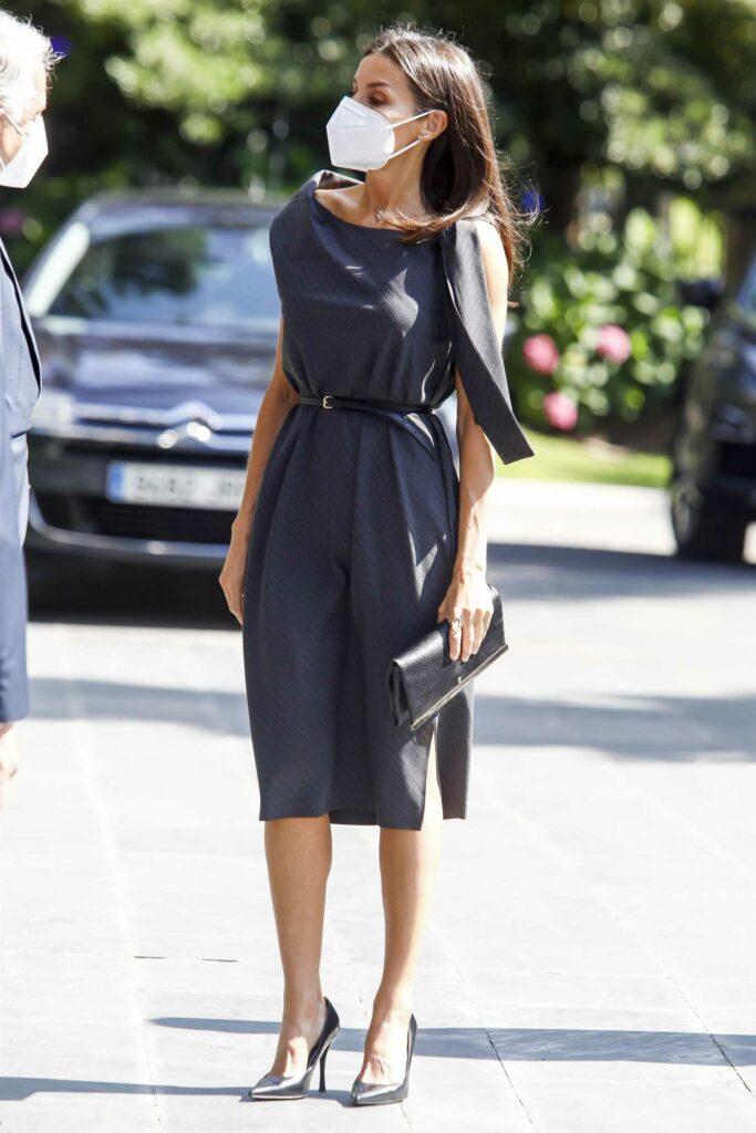 Queen Letizia of Spain in a Black Dress