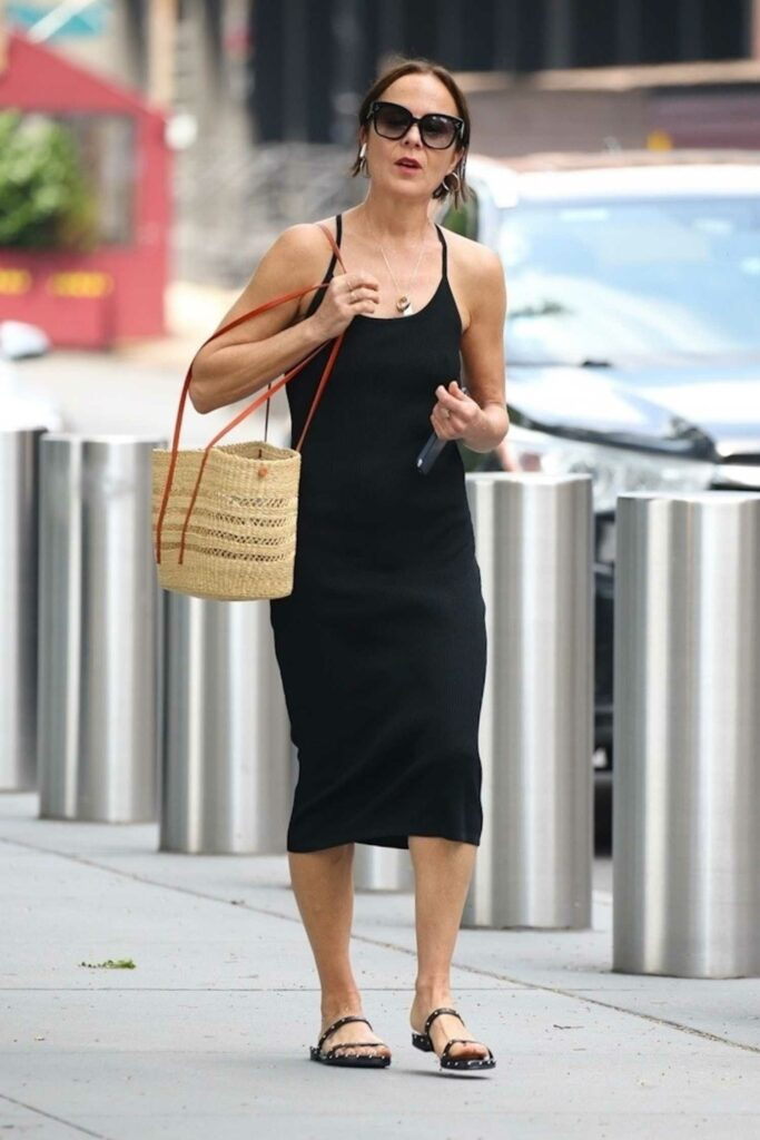 Rebecca Rigg in a Black Summer Dress