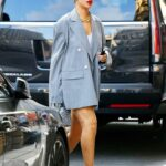 Rihanna in a Grey Blazer Was Spotted Out in New York