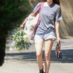 Scout Willis in a Grey Tee Arrives Home with a Some Flowers in Los Feliz