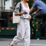 Sienna Miller in a Grey Cardigan Was Spotted Out in New York
