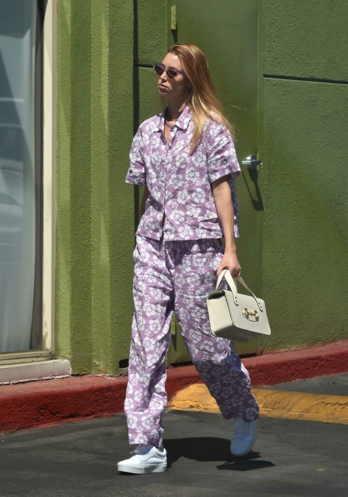 Whitney Port in a Purple Floral Print Outfit