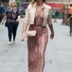 Amanda Holden in a Beige Jacket Leaves the Global Radio in London