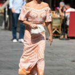 Amanda Holden in an Orange Dress Leaves the Global Studios in London