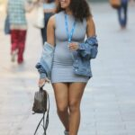 Amber Gill in a Grey Mini Dress Arrives at the Capital Radio in London