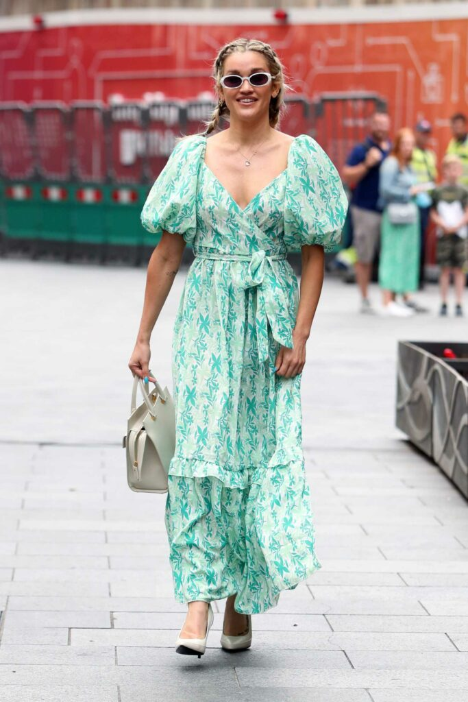 Ashley Roberts in a Green Floral Dress
