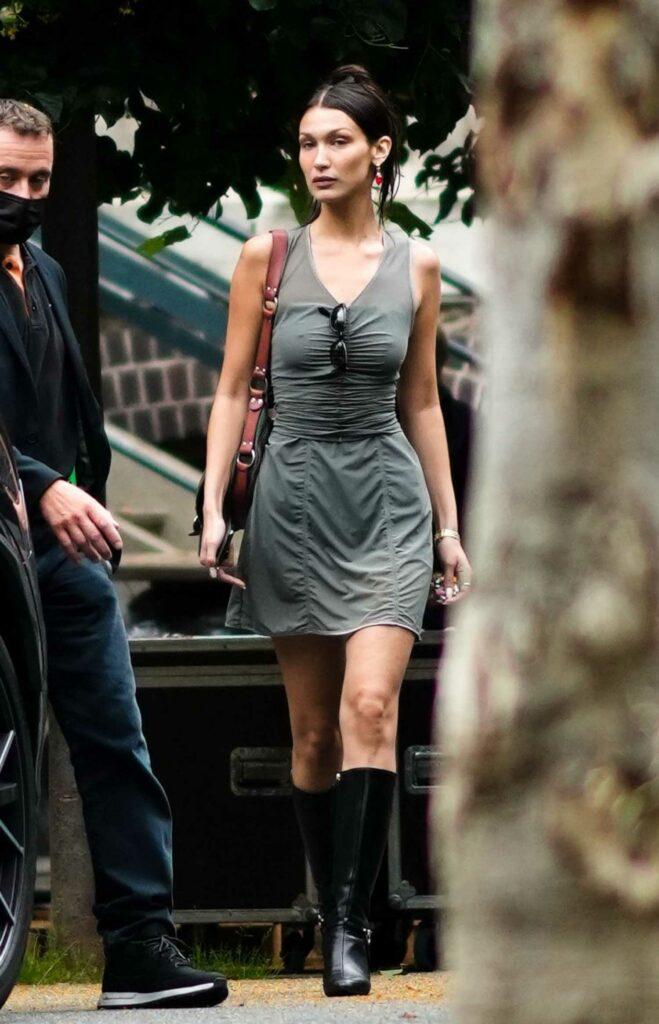 Bella Hadid in a Grey Dress