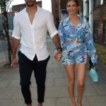 Beth Dunlavey in a Blue Flip-Flops Enjoys a Date Night with Connagh Howard at Zouk Restaurant in Manchester
