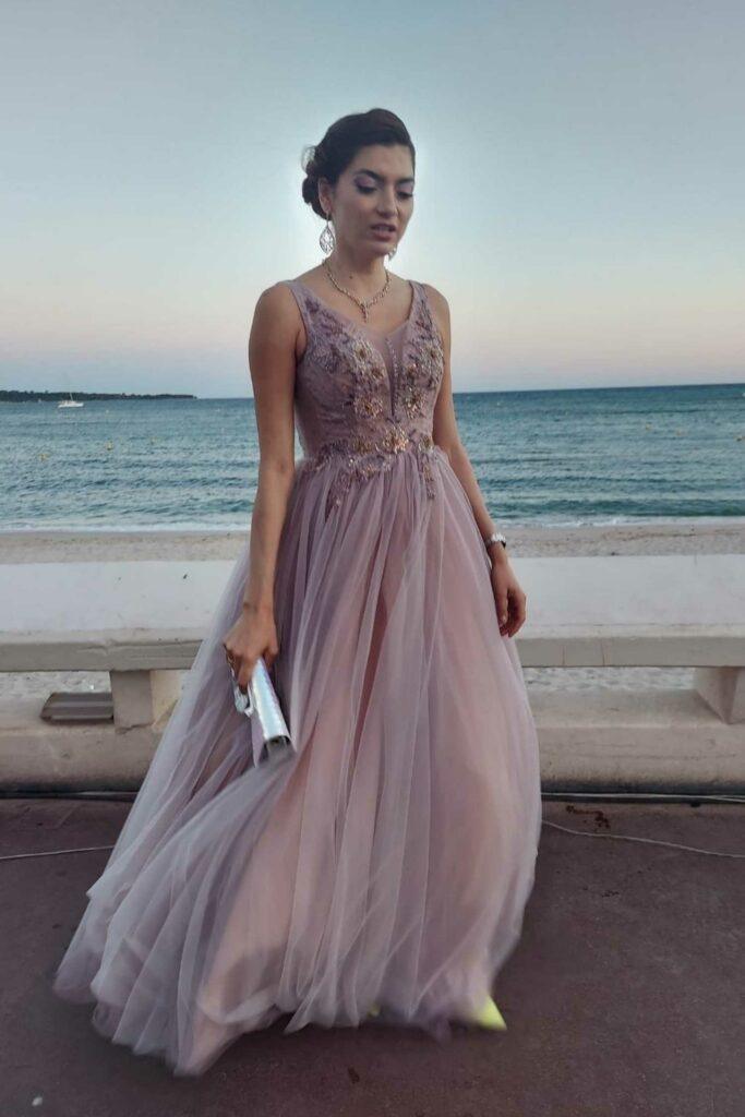Blanca Blanco in a Pink Dress