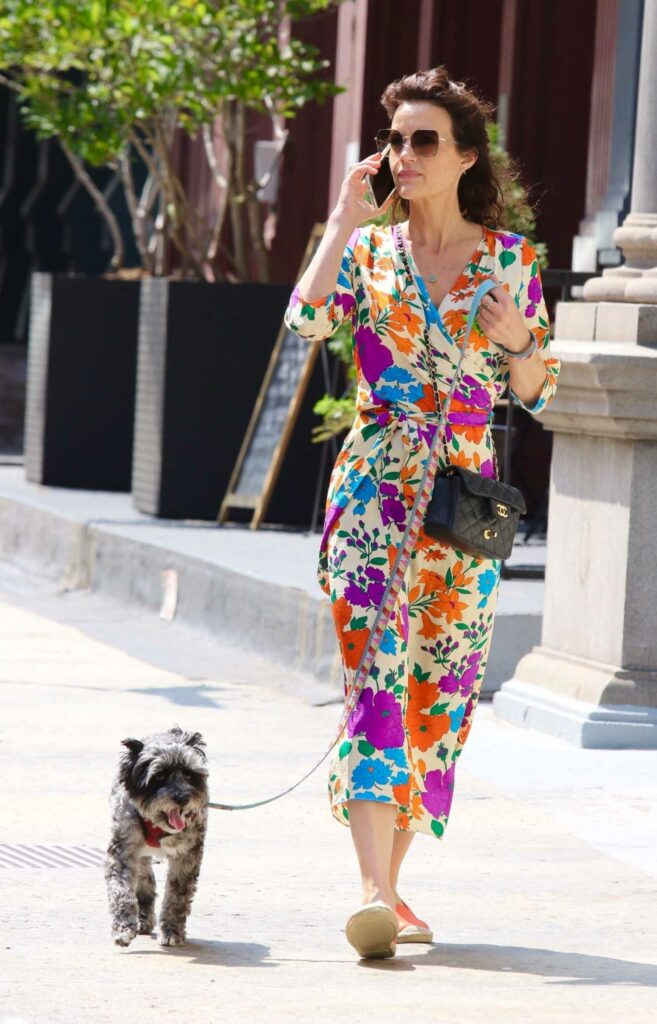 Carla Gugino in a Floral Colorful Dress