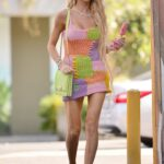 Christine Quinn in a Knit Colorful Mini Dress Cools Down with an Ice Cream in Los Angeles