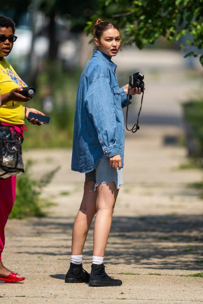 Gigi Hadid in a Denim Shirt