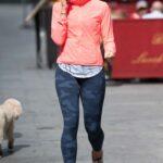 Jenni Falconer in a Grey Camo Leggings Leaves the Global Studios in London
