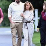 Jennifer Lopez in a Beige Outfit Was Seen Out with Ben Affleck in the Hamptons, New York