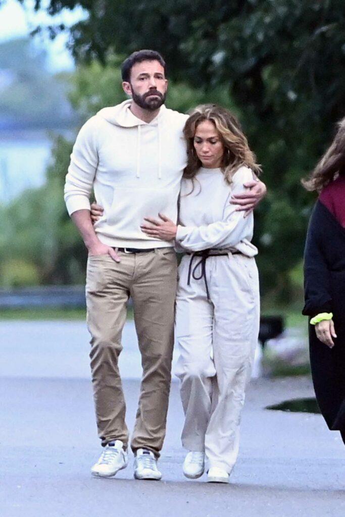 Jennifer Lopez in a Beige Outfit