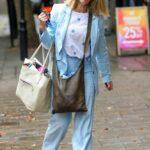 Kate Garraway in a Blue Suit Arrives at the Global Radio Studios in London
