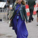 Kate Garraway in a Purple Dress Leaves the Smooth Radio in London