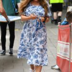 Kelly Brook in a Blue Floral Dress Arrives at the Heart Radio in London