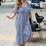 Kelly Brook in a Gingham Dress Arrives at the Global Radio Studios in London