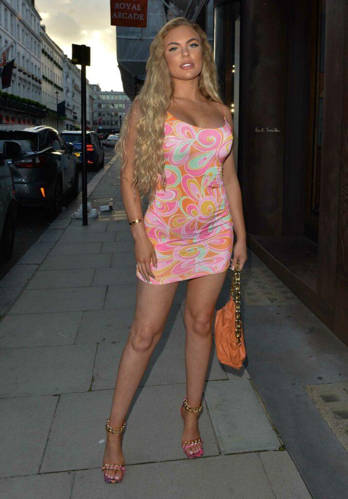 Kelsey Stratford in a Patterned Mini Dress