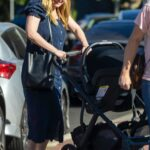 Kirsten Dunst in a Blue Dress Was Spotted Out with Her Two Kids in Toluca Lake