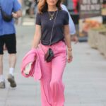 Myleene Klass in a Pink Track Pants Arrives at the Smooth Radio Studios in London
