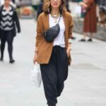 Myleene Klass in a Tan Suede Blazer Arrives at the Smooth Radio in London