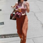 Scout Willis in a Pink Top Exits Her Friend's House in Los Angeles