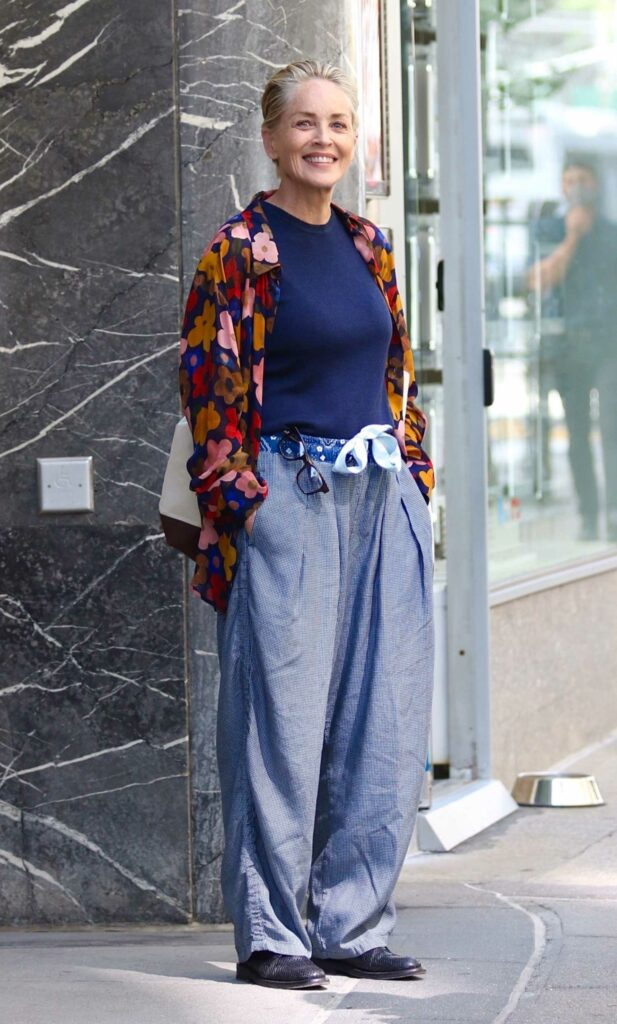 Sharon Stone in an Oversized-Baggy Pants